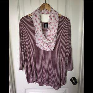 Bobeau asymmetrical romantic top with scarf XL